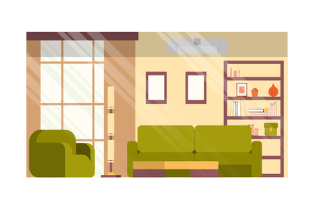 Illustration pour Cozy Living or Guest Room, House Hall in Minimalistic Design Flat Vector Interior with Comfortable Sofa and Armchair, Books and Decor Elements on Rack, Paintings or Photo Frames on Wall Illustration - image libre de droit