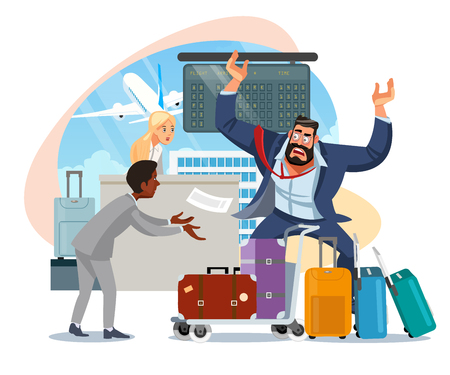 Ilustración de Businessman Mad Because of Late on Plane, Arguing with Airport Personnel Because of Luggage Missing After Arrival Cartoon Vector Illustration Isolated on White Background. Oversized Baggage Concept - Imagen libre de derechos