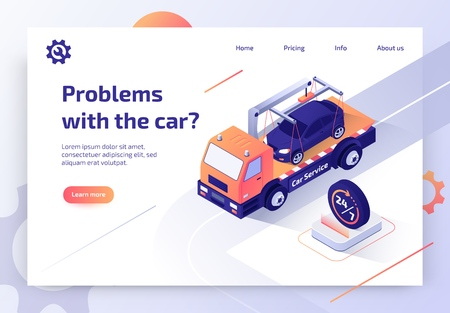 Illustration pour Round The Clock Car Towing Truck Service Isometric Vector Web Banner with Flatbed Truck Transporting Vehicle to Repair Shop Illustration. Road Assistance and Evacuation Service Landing Page Template - image libre de droit