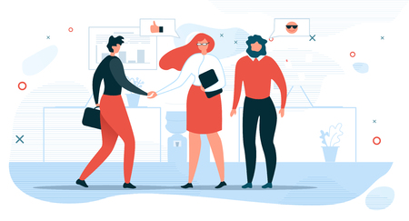 Illustration pour Business People Communication Flat Vector Concept with Businesswoman Shaking Hand to Partner, Company Hiring Manager Welcoming New Employee Illustration. Business Meeting for Negotiations in Office - image libre de droit