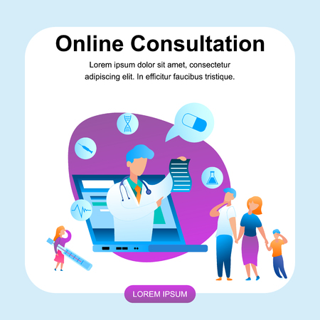 Illustration Doctor Online Consultation Treatment  Banner