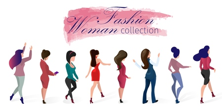Foto per Set Fashion Woman Collection Vector Illustration. Lettering on Watercolor Smear. Women Demonstrate Different Models Clothing for Everyday Life and Evening Out. Designer Presentation Moda. - Immagine Royalty Free