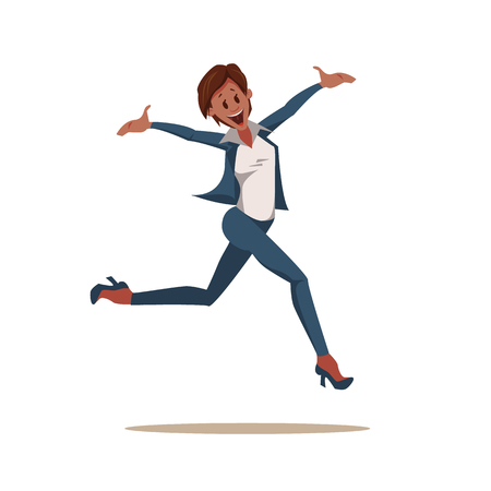 Excited Coworker Woman Wearing Pantsuit Jump Up. Happy, Smiling Office Worker Character in Formal Suit Celebrate Success. Emotion Expression by Jumping. Cartoon Flat Vector Illustration