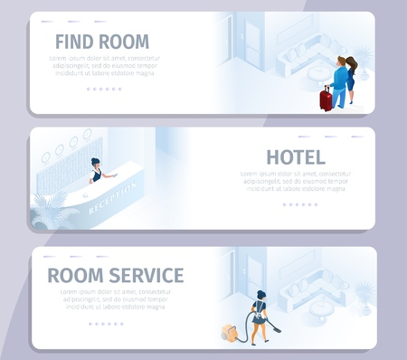 Illustration pour Hotel Booking Find Room Cleaning Service Banners Set Vector Illustration. Reservation Book Online Comfortable Modern all Inclusive Appartment for Business Travel Trip Vacation Buy Tour - image libre de droit