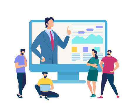 Illustration pour Business Training Event, Remote Corporate Teaching, Meeting Learn People Webinar Online Manager Conference at Computer. Leadership Finance Employee Training Session Cartoon Flat Vector Illustration - image libre de droit