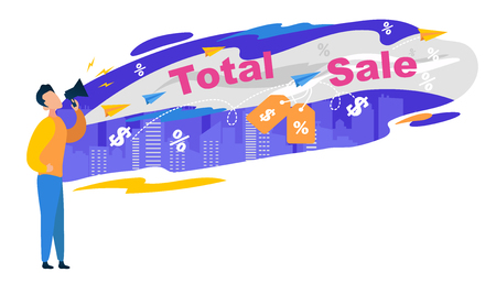 Total Sale Banner  Young Man Character in Jeans and Yellow