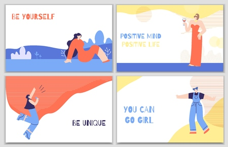 Illustration pour Set Woman Motivation Posters with Daily Stimulus. Colorful Banners with Inspirational Phrases Quotes Be Unique Change Life Be Yourself Have Positive Thoughts. Lettering Trendy Flat Vector Illustration - image libre de droit