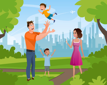 Illustration for Happy Family Walking Playing in Summer City Park. Father Character Throwing Little Son, Elder Brother Standing with Hand Up, Mother Taking Picture. Flat Cartoon Vector Illustration - Royalty Free Image