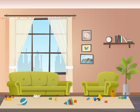 Illustration for Baby Scattered Toys on Floor. Messy Living Room. Child Mess Space in Home Indoor Interior. Untidy House. Disorder Naugty Children Apartment Design. Flat Cartoon Vector Illustration - Royalty Free Image
