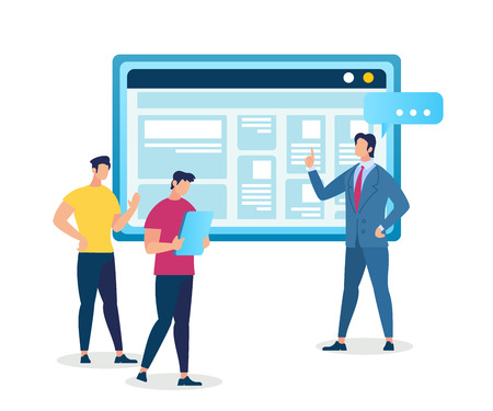 Illustration pour Master Class in Professional Growth. Personal Development in Career and Business Training, Coach Man and Two Male Students Stand at Huge Monitor with Information. Cartoon Flat Vector Illustration. - image libre de droit