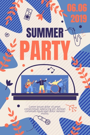 Illustration pour Illustration Summer Party Vector Banner. Promotion and Distribution Information about Upcoming Music Event. Style Musical Group Men Plays Live Music on Instruments. Cartoon Flat. - image libre de droit