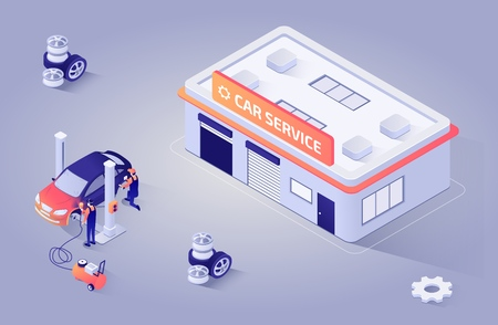 Illustration pour Isometric Illustration for Automotive Paint Shop or Car Service. Workers Polishing, Refinishing and Painting Automobile. Vector 3d with Repair Building or Garage Station. Teamwork Process - image libre de droit