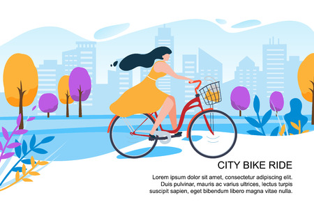 Ilustración de Happy Cartoon Girl Cyclist Ride Bike on City Street Vector Illustration. Woman in Dress with Bicycle. Town Building Park Tree. Urban Transport. Outdoors Activity. Female Fitness Healthy Lifestyle - Imagen libre de derechos