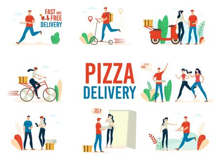 Photo pour Fast Food Restaurant Pizza Delivery Service Trendy Flat Vector Concepts Set Isolated on White Background. Deliveryman on Scooter, Female Courier on Bicycle Delivering Orders to Clients Illustrations - image libre de droit