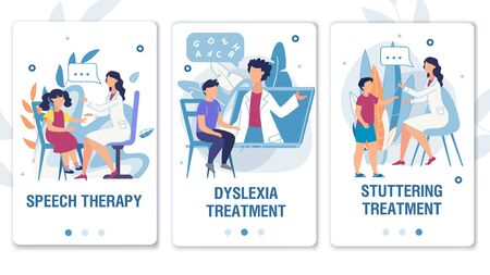 Illustration pour Online Service for Speech Therapy, Dyslexia and Stuttering Treatment Mobile Flat Landing Page Set. Medical Wepages for Social Media Network. Therapist Working with Kids. Vector Cartoon Illustration - image libre de droit