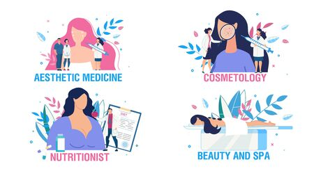 Illustration pour Women Health Care and Treatment People Scene Set. Cartoon Ladies and Doctors Cosmetologist, Nutritionist Consultation. Face Sking Beauty. Body Care and Relax. Aesthetic Medicine. Vector Illustration - image libre de droit