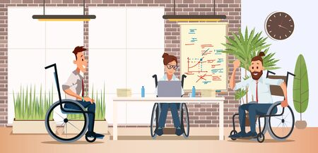 Illustration pour Disabled People Teamwork and Cooperation in Work Trendy Flat Vector Concept with Men and Woman, Female, Male Employees in Wheelchairs Working Together in Office, Planning Project Illustration - image libre de droit