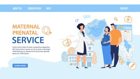 Illustration for Flat Landing Page Layout Design. Maternal Prenatal Service. Cartoon Female Doctor Consulting Pregnant Woman Wife with Man Husband. Young Family Waiting Childbirth on Consultation. Vector Illustration - Royalty Free Image