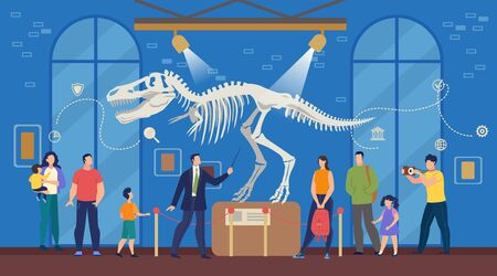Illustration pour Tourists with Children at Natural Science Archeological Museum. Men, Women, Kids Listening to Guide and Looking at Prehistoric Times Dinosaur Remains, Skeleton, Bones Exposition. Vector Illustration - image libre de droit