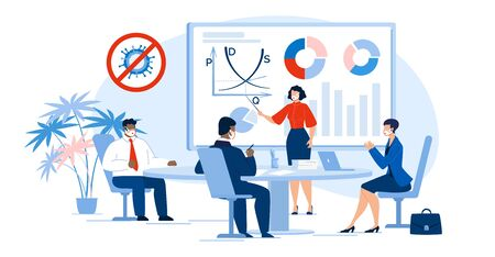 Illustration pour Multiracial Business People Team in Meeting Room. Businesswoman Executive Manager Present Project Startup, Analytical Data Statistic, Financial Report, Corporate Finance Condition after Covid Outbreak - image libre de droit