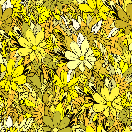 Illustration for Seamless background colorful floral pattern with daisies. - Royalty Free Image