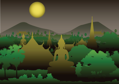 temple pagoda image of Buddha sculpture sea,Myanmar,Thailand,vector illustration,at night