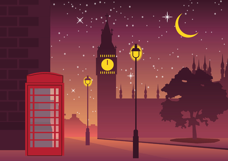Illustration pour telephone box and Big Ben famous landmark of England,silhouette style - image libre de droit