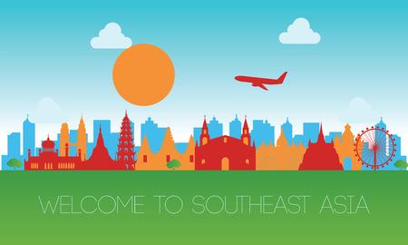 Illustration pour famous landmark of southeast Asia,travel destination,silhouette design - image libre de droit