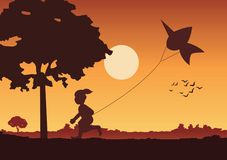 Illustration pour sunset landscape and country life with a boy play a kite around with tree.countryside of eastern lifestyle.vector illustration - image libre de droit