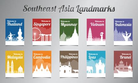 Illustration pour ASEAN famous landmark in silhouette design with multi color style brochure set,vector illustration - image libre de droit
