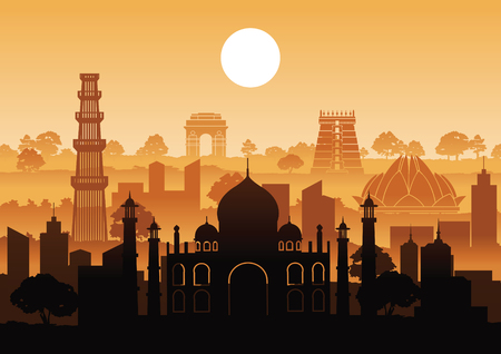 Illustration pour India famous landmark silhouette style with row design on sunset time,vector illustration - image libre de droit