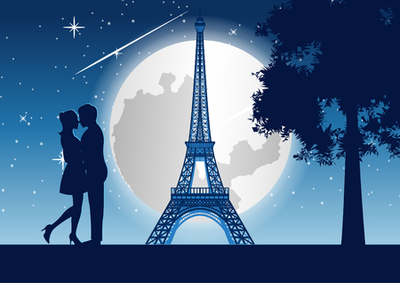 Photo for couple hug together around with skyscraper near tree and Eiffel tower in Paris at  night,silhouette style,vector illustration - Royalty Free Image