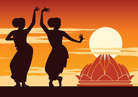 Illustration pour India dancer perform near famous landmark on sunset time,silhouette design,vector illustration - image libre de droit