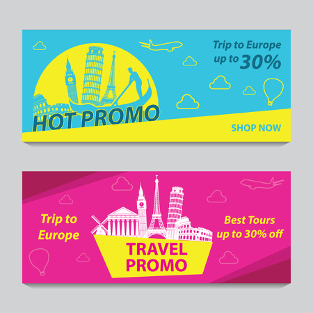Illustration pour Bright and colorful promotion banner with pink and blue color for Europe travel,silhouette art design,vector illustration - image libre de droit