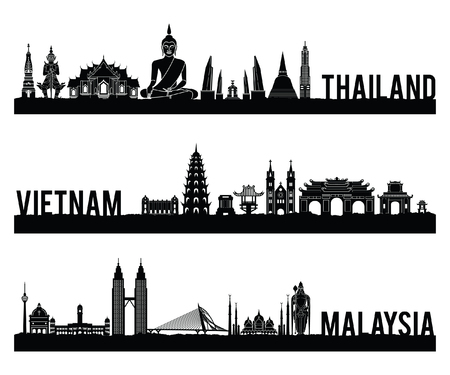Illustration pour Thailand Vietnam and Malaysia famous landmark silhouette style with black and white classic color design include by country name,vector illustration - image libre de droit