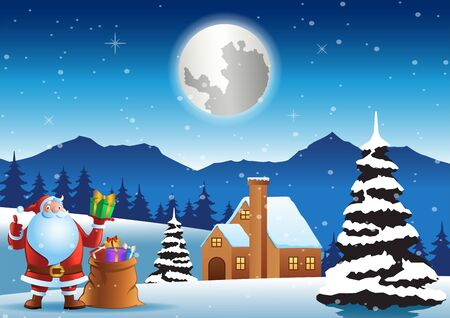 Illustration pour Santa claus stand in front of house with bag on Christmas night, vector illustration - image libre de droit
