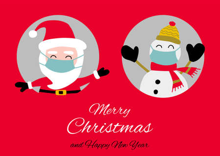 Illustration pour Snowman and santa Claus are in circle hole  and wear maskswith happiness with Christmas invitation card design,vector illustration - image libre de droit