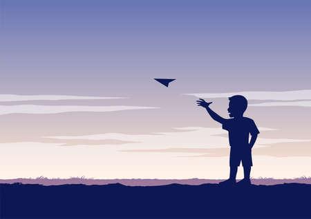 Illustration pour silhouette design of boy play paper plane,vector illustration - image libre de droit