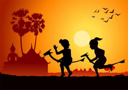 Illustration pour silhouette design of boys riding banana horse, vector illustration - image libre de droit