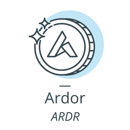 Ardor cryptocurrency coin line, icon of virtual currency vector