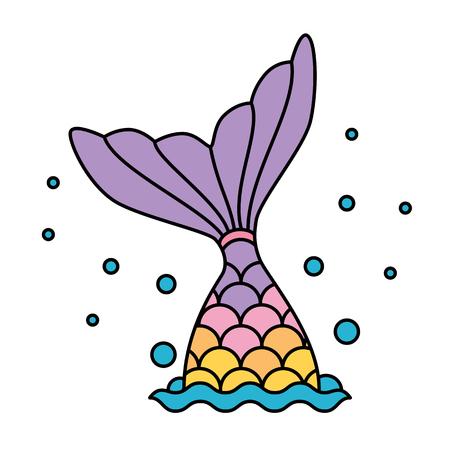 Illustration pour Mermaid tail rainbow pastel colorful jumping to water bubbles - image libre de droit