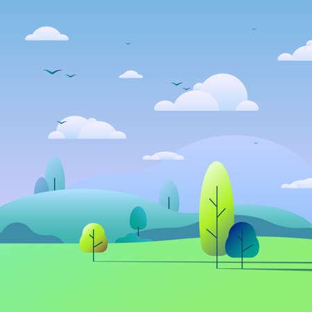Illustration for Vector cartoon nature flat illustration. Nature illustration for background, book, environmental protection. - Royalty Free Image