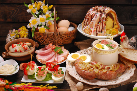 Photo for easter traditional polish dishes on rural wooden table - Royalty Free Image