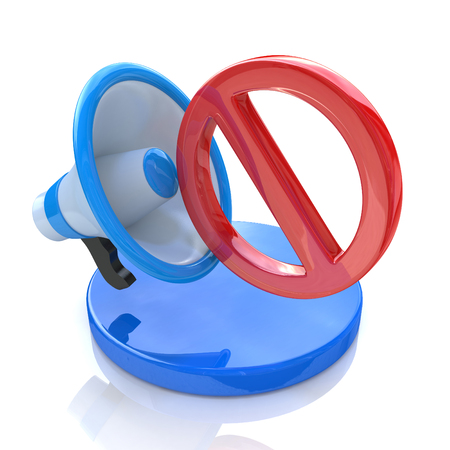 No speak sign. Megaphone with red not allowed sign on a white background in the design of information related to communication and bans