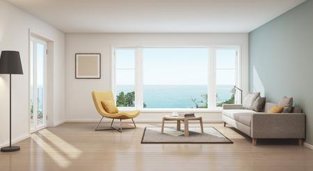 Foto de Scandinavian sea view living room in luxury house- 3D rendering - Imagen libre de derechos