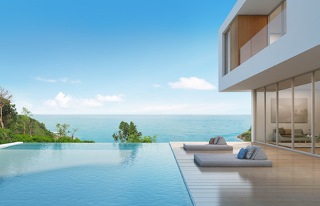 Photo pour Beach house with pool in modern design - 3d rendering - image libre de droit