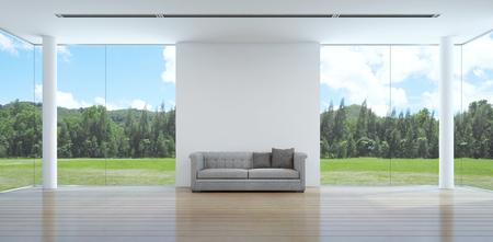 Photo pour green garden view living room interior in modern house - 3D rendering - image libre de droit