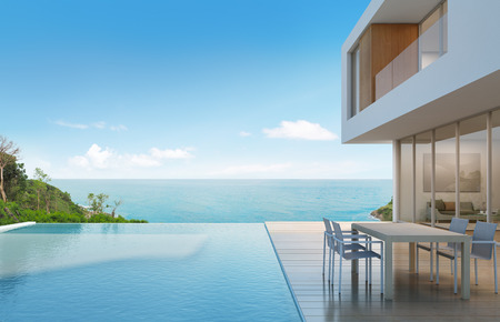 Photo pour Beach house with sea view in modern design - 3d rendering - image libre de droit