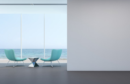 Photo pour Sea view living room with white wall in modern house - 3D rendering - image libre de droit