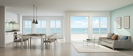Foto de Sea view living room, dining room and kitchen, Beach house - 3D rendering - Imagen libre de derechos